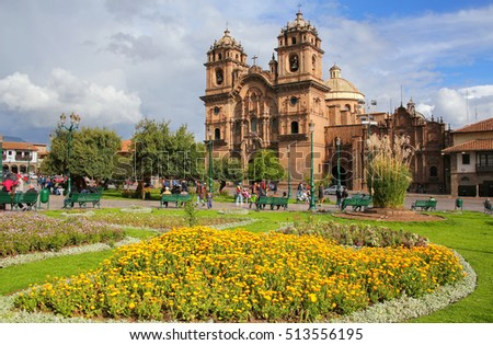 CUSCO, PERU - JANUARY 20: Iglesia de la Compania de Jesus on Plaza de Armas on January 20, 2015 in Cusco, Peru. In 1983 Cusco was declared a World Heritage Site by UNESCO