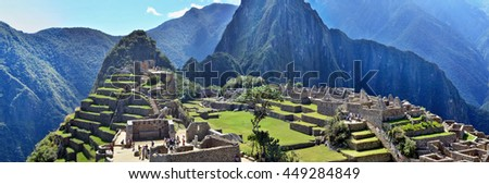 CUSCO, PERU - JUNE 05, 2016: Machu Picchu - sacred town of an Inca empire time. It is the power center of Earth planet. Incas built the estate with polished dry stone walls around 1450.  - stock photo