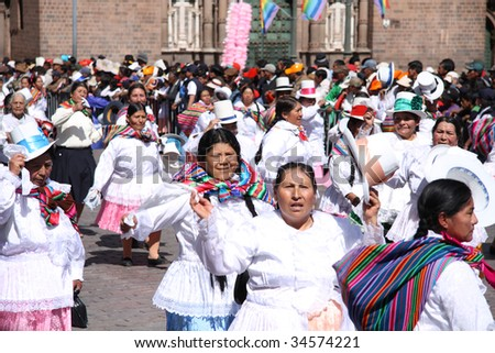 CUSCO , PERU - JUNE 14: Participants dance in celebration of the Plaza de Armas June 14 2009 in Cusco City, Peru.