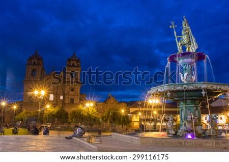 CUSCO PERU-MARCH 18, 2015: Inca fountain in the Plaza de Armas of Cusco, Peru - stock photo