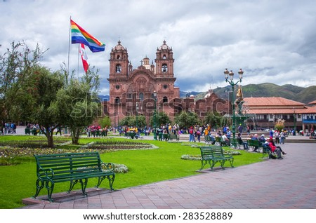 CUSCO PERU-MARCH 08, 2015: Plaza De Armas and Iglesia de la Compania, Cusco, Peru - stock photo