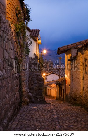 Cusco, 6 pm - stock photo