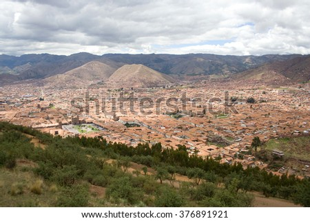 Cusco, view from Sacsayhuaman, Inca ruins in Cusco, Peru - stock photo