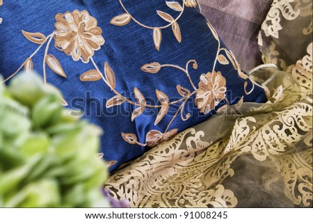 cushion and the sofa in living room - stock photo