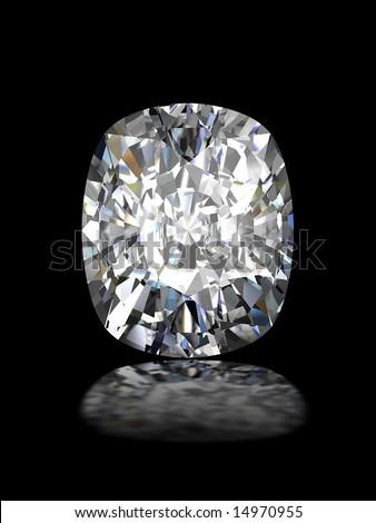 Cushion cut diamond on black - stock photo
