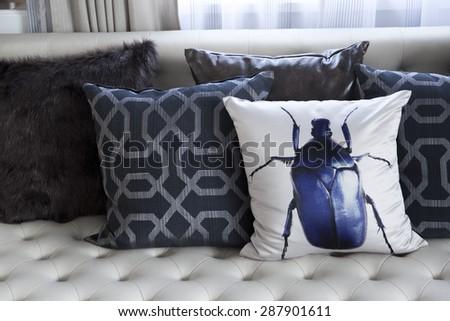 cushion on sofa at home  - stock photo