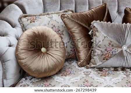 Cushion on the sofa - stock photo