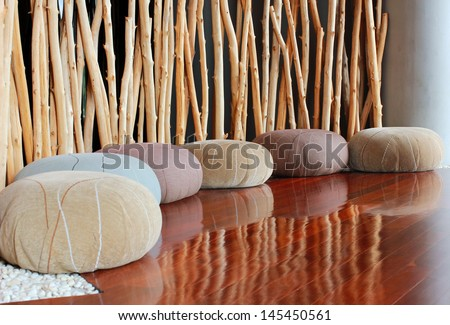 Cushion seat in quiet interior room for meditation - stock photo