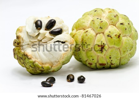 custard apple on white background - stock photo