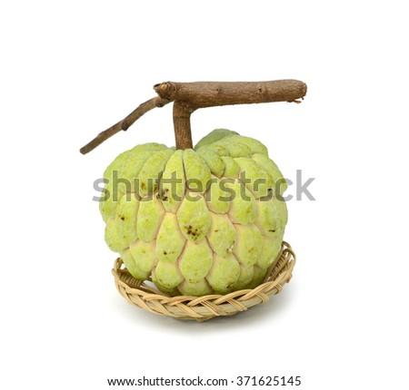 custard apple tropical fruit on a white background,Thailand - stock photo