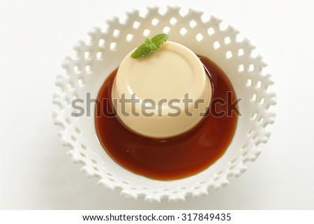 custard pudding with caramel sauce - stock photo