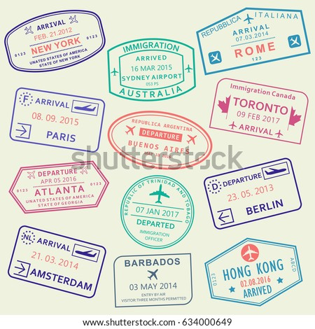 Custom and travel passport stamp set. International Airport visa stamps.