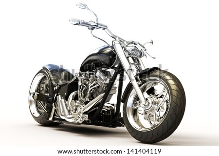 Custom black motorcycle on a white background.  - stock photo