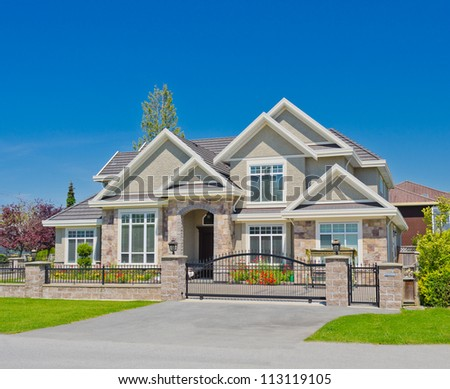 Custom build big luxury home in the suburbs of Vancouver, Canada - stock photo