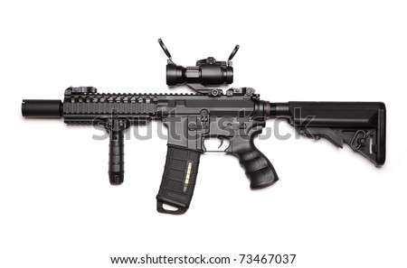 Custom build compact size M4A1 assault carbine with RIS/RAS, tactical handguard, crane stock and red-dot sight. Isolated on a white background. Weapon series. - stock photo