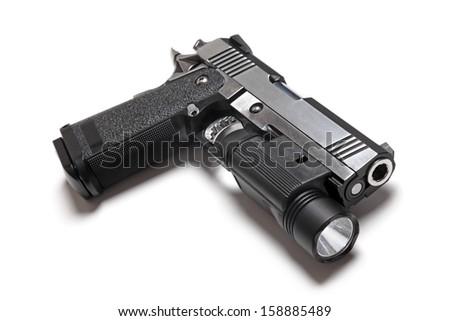 Custom Build 1911 Double Stack USPSA Pistol With Flashlight - stock photo