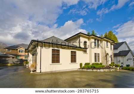 Custom built luxury house  in a residential neighborhood. Vancouver. Canada. - stock photo