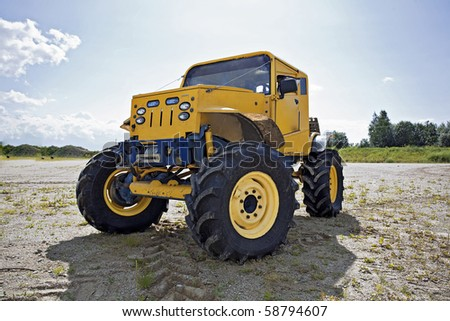 Custom built monster truck before competition front view - stock photo