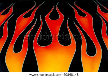 Custom car flames - stock photo