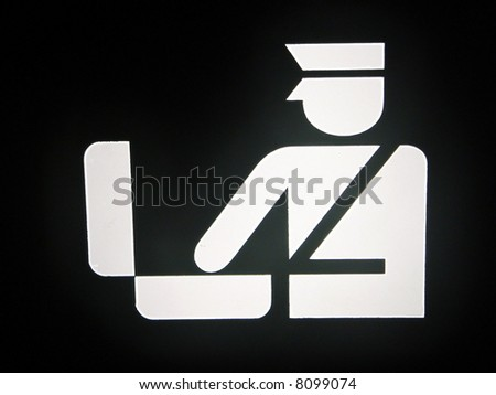 Custom check luggage sign in Airport - stock photo