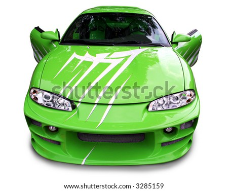 Custom green street racer with doors open - stock photo