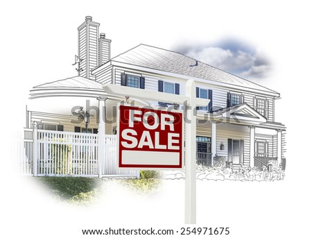 Custom House and For Sale Real Estate Sign Drawing and Photo Combination on White. - stock photo
