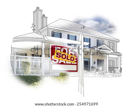 Custom House and Sold Real Estate Sign Drawing and Photo Combination on White. - stock photo