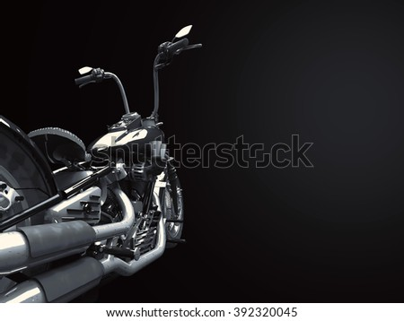 Custom isolated motorcycle on a black background