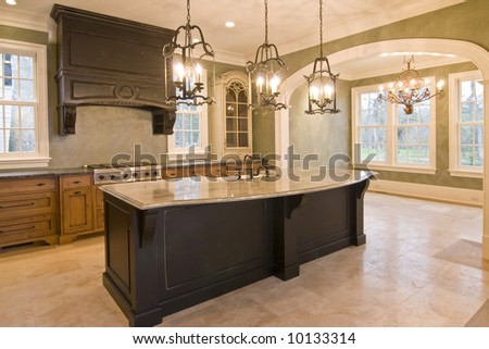 custom kitchen and diningroom - stock photo