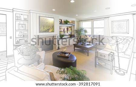 Custom Living Room Drawing Gradation Into Photograph