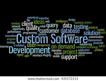 Custom Software Development, word cloud concept on black  background. - stock photo