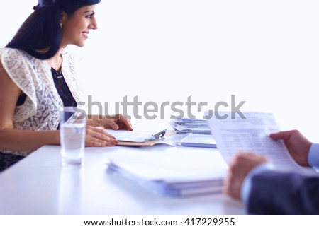 Customer and agent sitting at desk in a meeting or successful collaboration under businesspeople on  office. - stock photo