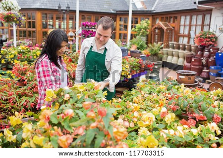 Customer and worker standing at a flowerbed while talking in garden center - stock photo