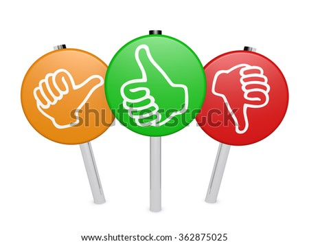 Customer business feedback, rating and survey positive and negative sign post with thumb up and down icon isolated on white background. - stock photo