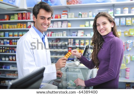 Customer buying medicine at the pharmacy
