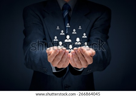 Customer care, care for employees, human resources, life insurance, employment agency and marketing segmentation concepts. Central composition.  - stock photo