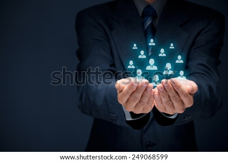Customer care, care for employees, human resources, life insurance, sales force and marketing segmentation concepts. Businessman or personnel and icons representing group of people.