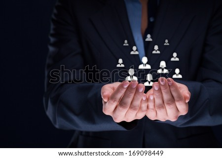 Customer care, care for employees, labor union, CRM, and life insurance concepts. Protecting gesture of businesswoman or personnel with icons representing group of people.