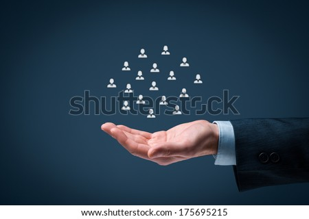 Customer care, care for employees, labor union, human resources pool, life insurance and employment agency concepts. Offer gesture of businessman or personnel and icons representing group of people.