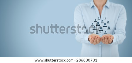 Customer care, care for employees, life insurance and marketing segmentation concepts. Protecting gesture of businesswoman or personnel and icons representing group of people. Wide banner composition. - stock photo