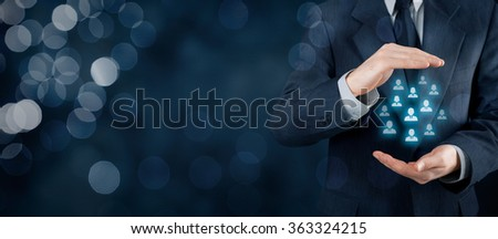 Customer care, care for employees, life insurance and marketing segmentation concepts. Protecting gesture of businessman and icons representing group of people. Wide banner composition with bokeh.  - stock photo
