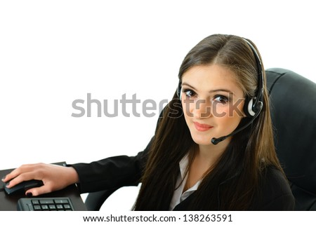 Customer Care Representative Looking Up - stock photo