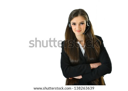 Customer Care Representative with Arms Crossed - stock photo