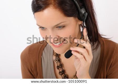 Customer care service center woman call operator phone headset - stock photo
