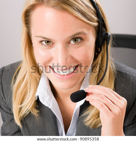 Customer care service center woman call operator phone headset