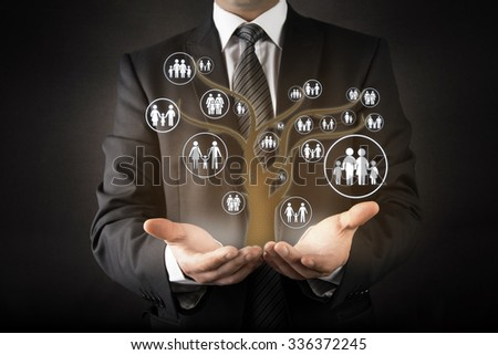 Customer care with family tree abstract concept