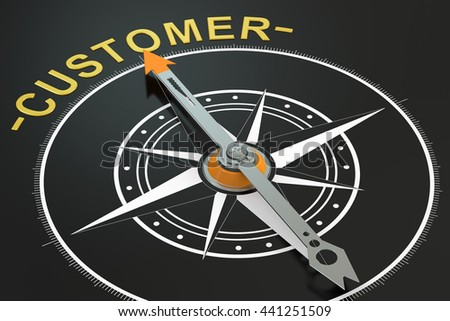 Customer compass concept, 3D rendering - stock photo