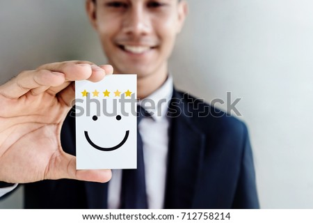Customer Experience Concept Happy Businessman Holding Stockfoto Lizenzfrei 712758214 Shutterstock