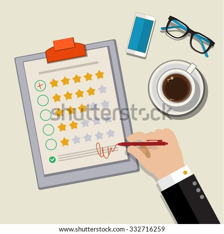 Customer feedback concept. Hand checking excellent mark in a survey. Flat design. - stock photo