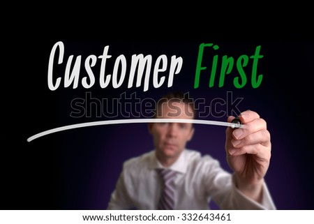 Customer First, Induction Training headlines concept.